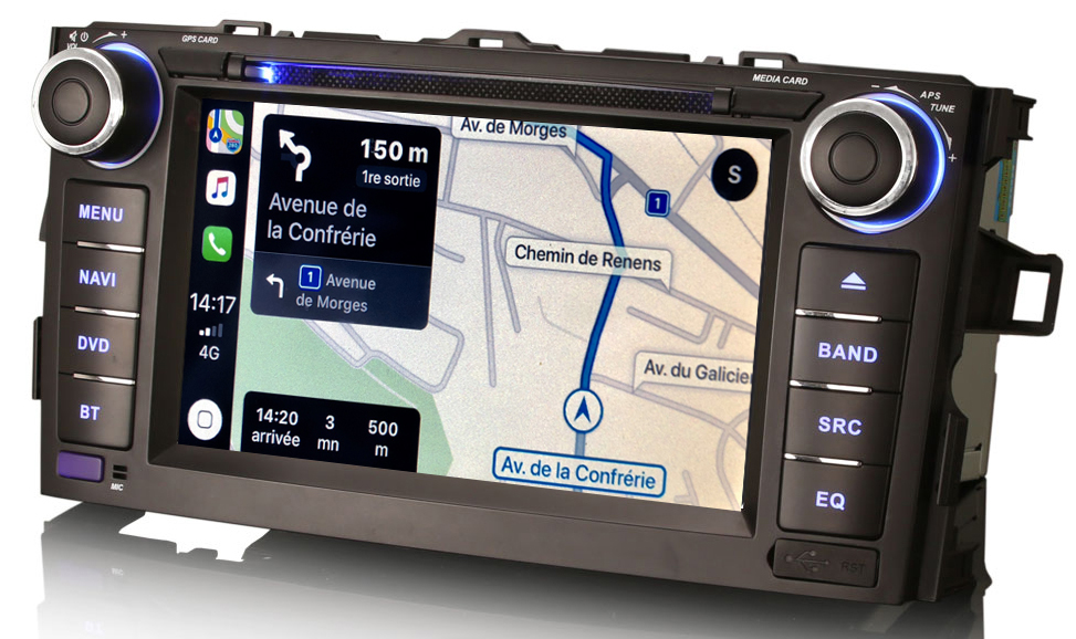 Autoradio tactile GPS DVD Android 10.0 et Apple Carplay Toyota Auris de 2007 à 2012