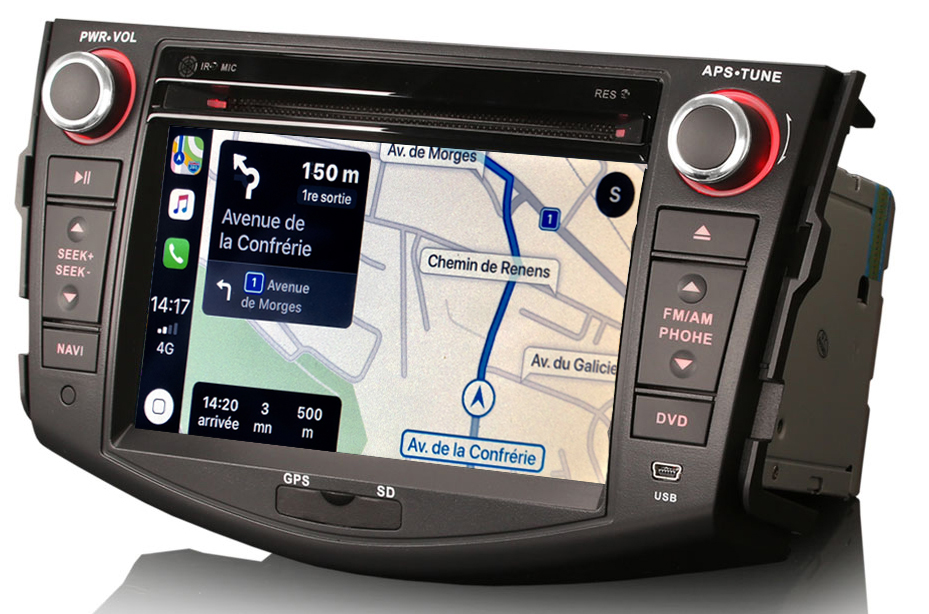 Autoradio tactile GPS Android 10.0 et Apple Carplay Toyota RAV4 de 2006 à 2012