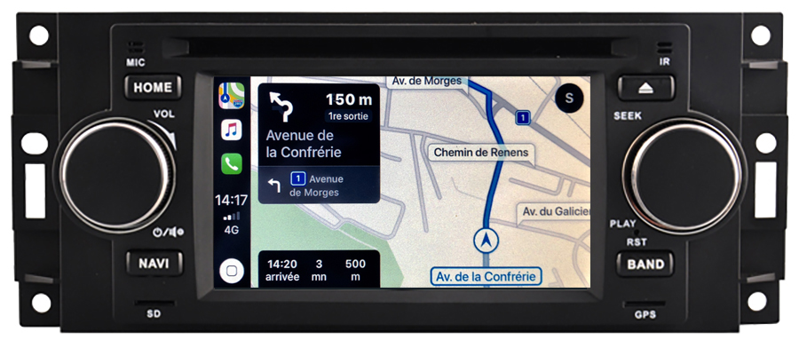 Autoradio tactile GPS Android 10.0 et Bluetooth Jeep Commander, Compass, Patriot et Grand Cherokee
