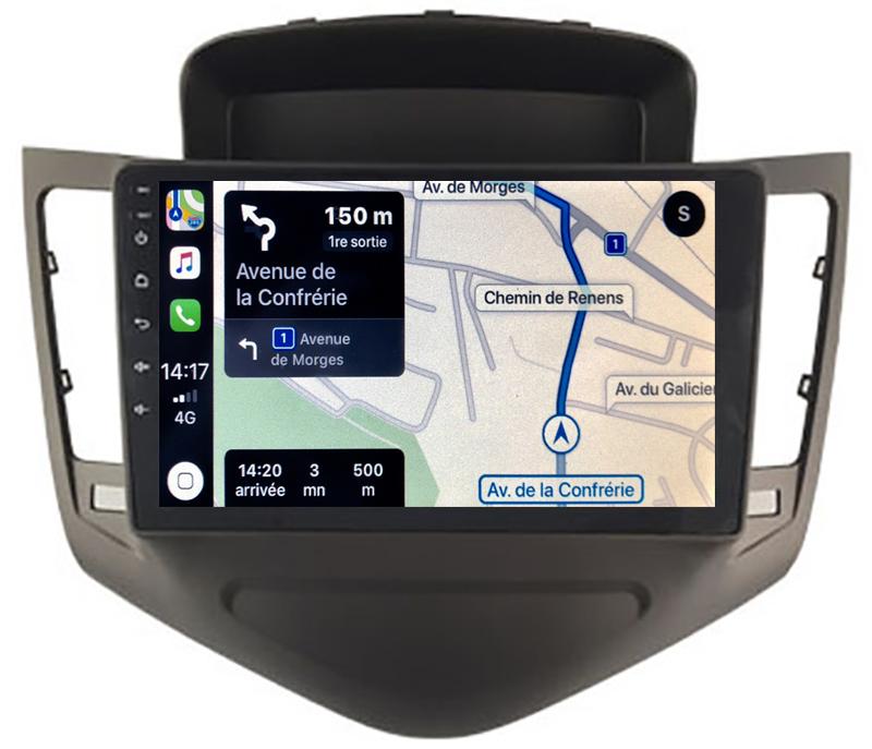 Autoradio GPS à écran tactile QLED Android 10.0 et Apple Carplay sans fil Chevrolet Cruze de 2009 à 2013