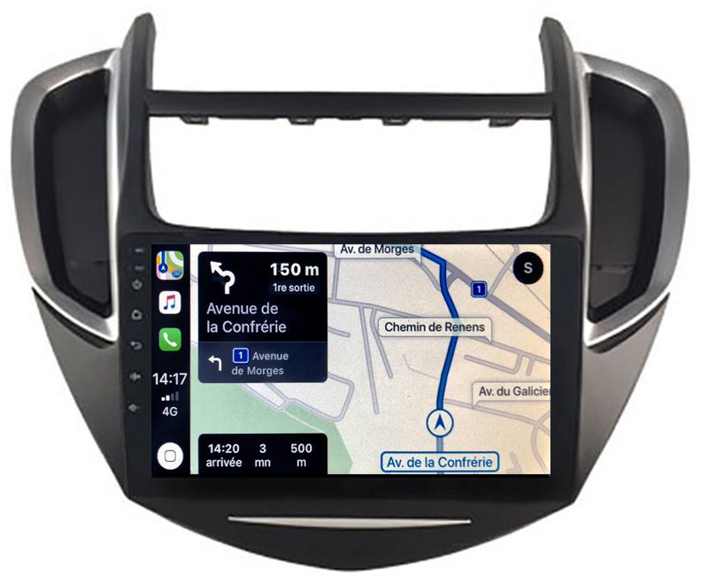 Autoradio GPS à écran tactile QLED Android 10.0 et Apple Carplay sans fil Chevrolet Trax de 2013 à 2017