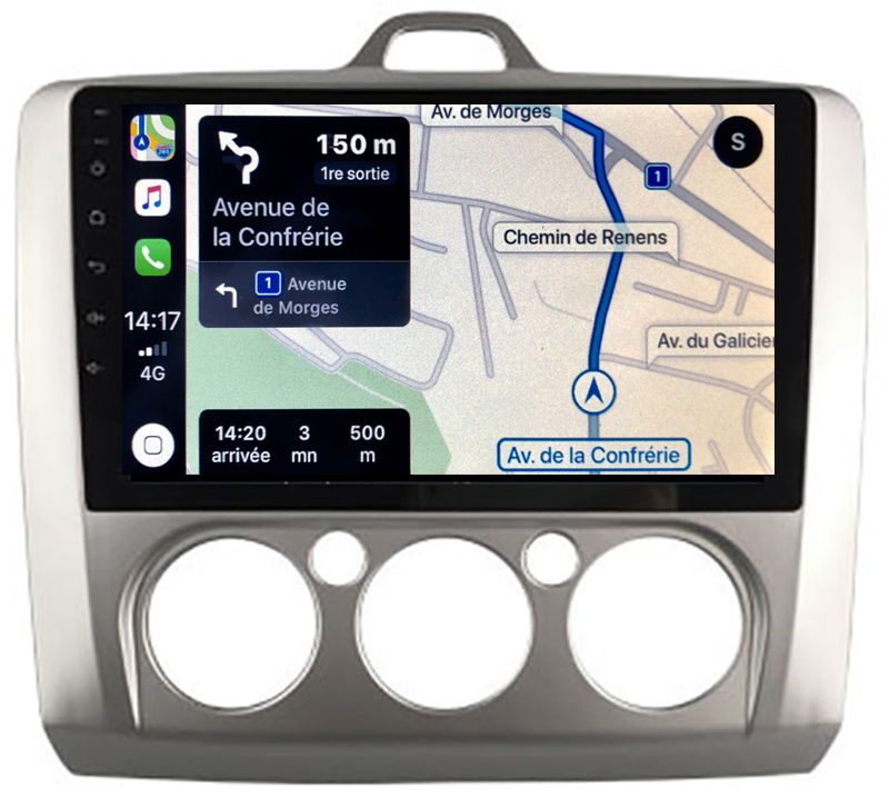 Autoradio GPS à écran tactile QLED Android 10.0 et Apple Carplay sans fil Ford Focus de 2004 à 2010