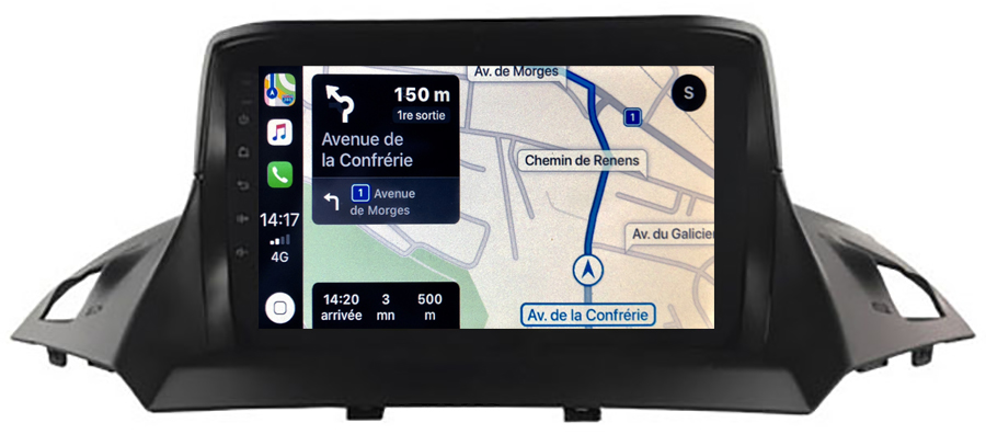 Autoradio tactile GPS Android 10.0 et Apple Carplay sans fil Ford Kuga et Ford C-Max