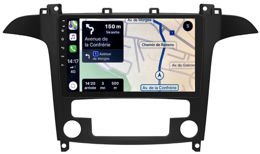 Autoradio GPS à écran tactile QLED Android 10.0 et Apple Carplay sans fil Ford S-Max de 2006 à 2015