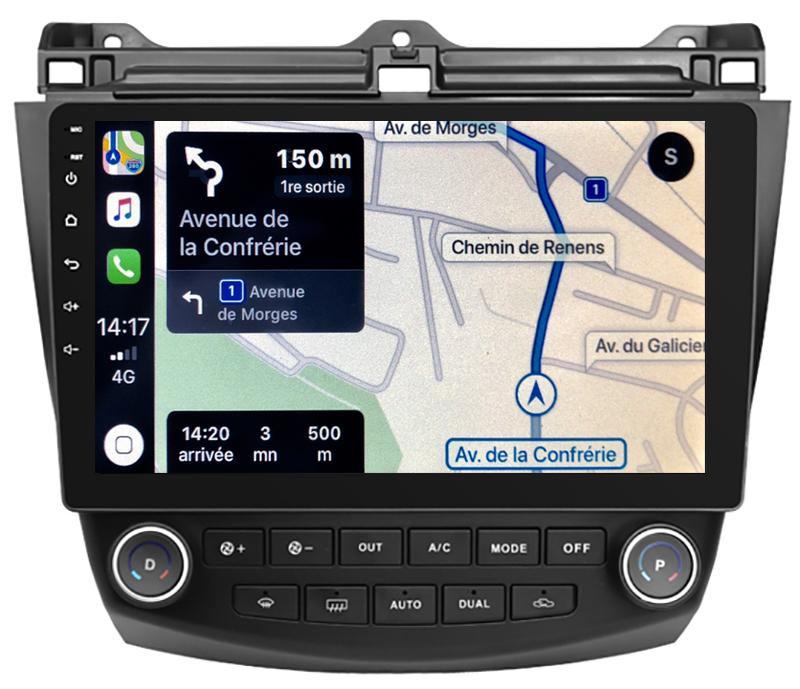 Autoradio tactile GPS Android 10.0 et Apple Carplay sans fil Honda Accord de 2002 à 2008