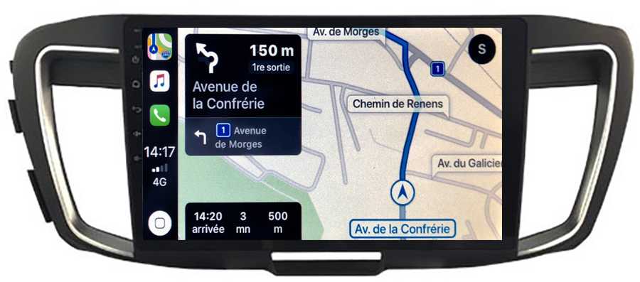 Autoradio tactile GPS Android 10.0 et Bluetooth Honda Accord de 2013 à 2019