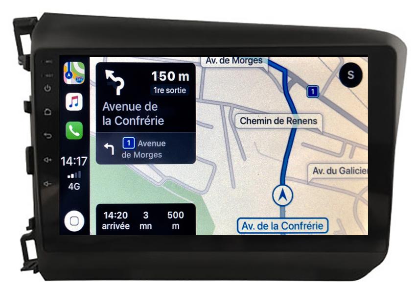 Autoradio GPS à écran tactile QLED Android 10.0 et Apple Carplay sans fil Honda Civic de 2012 à 2015
