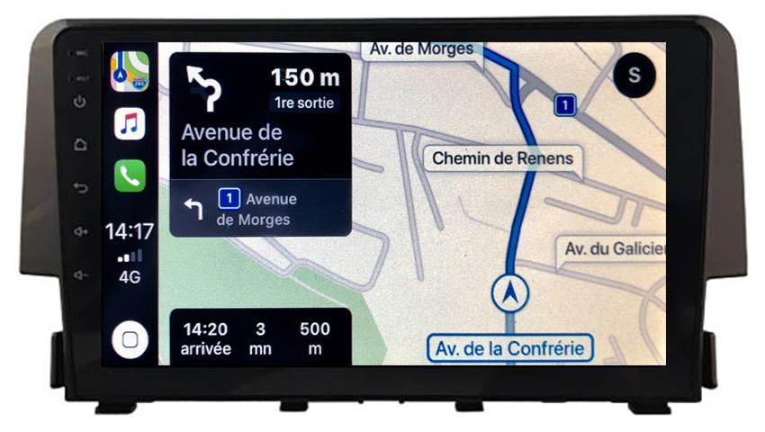 Autoradio GPS à écran tactile QLED Android 10.0 et Apple Carplay sans fil Honda Civic de 2016 à 2019