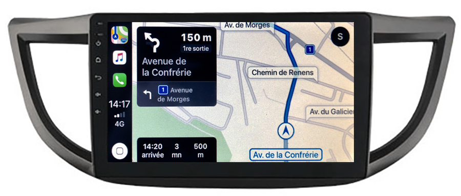 Autoradio GPS à écran tactile QLED Android 10.0 et Apple Carplay sans fil Honda CR-V de 2012 à 2016