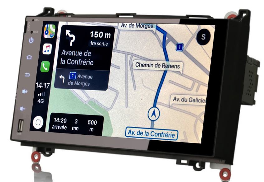 Autoradio tactile GPS Android 9.0 et Bluetooth Mercedes Sprinter de 04/2006 à 2014