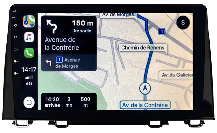 Autoradio GPS à écran tactile QLED Android 10.0 et Apple Carplay sans fil Honda CR-V depuis 2017