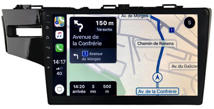 Autoradio GPS à écran tactile QLED Android 10.0 et Apple Carplay sans fil Honda Jazz de 2014 à 2020