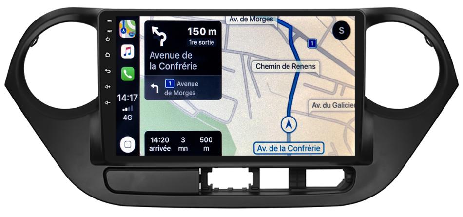 Autoradio GPS à écran tactile QLED Android 10.0 et Apple Carplay sans fil Hyundai i10 de 2014 à 2019