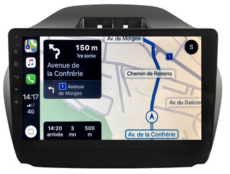 Autoradio GPS à écran tactile QLED Android 10.0 et Apple Carplay sans fil Hyundai IX35 de 2010 à 2013