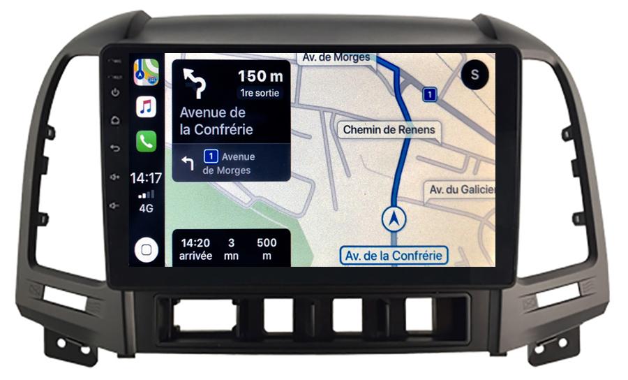 Autoradio GPS à écran tactile QLED Android 10.0 et Apple Carplay sans fil Hyundai Santa Fe de 2006 à 2012