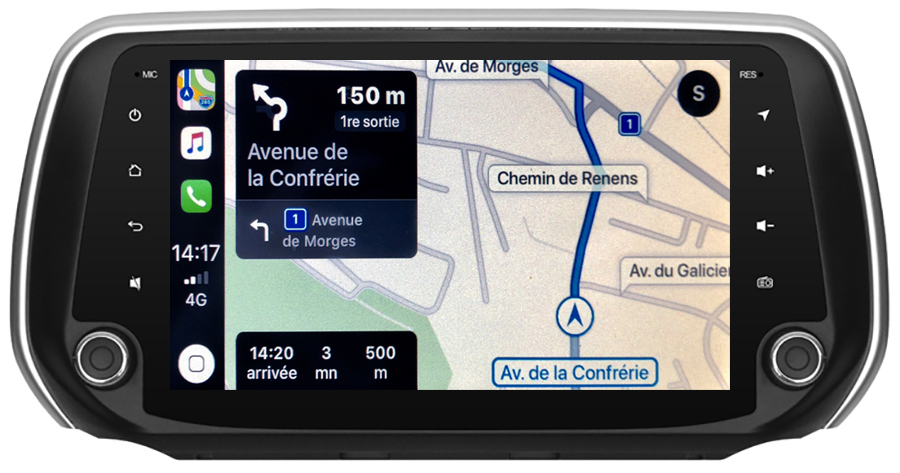 Autoradio GPS à écran tactile QLED Android 10.0 et Apple Carplay sans fil Hyundai Santa Fe depuis 2018