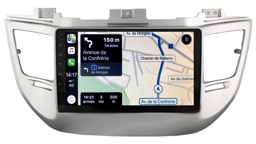 Autoradio GPS à écran tactile QLED Android 10.0 et Apple Carplay sans fil Hyundai Tucson de 2015 à 2018