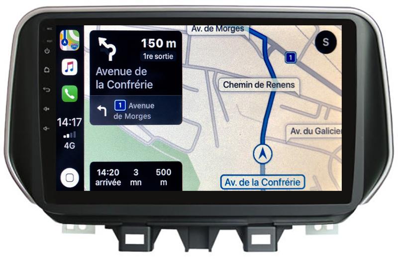 Autoradio tactile GPS Android 10.0 et Bluetooth Hyundai Tucson depuis 2018