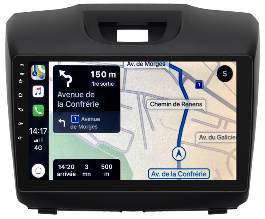 Autoradio GPS à écran tactile QLED Android 10.0 et Apple Carplay sans fil Isuzu D-Max