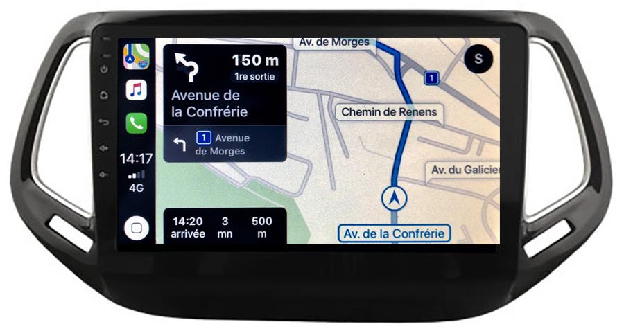 Autoradio GPS à écran tactile QLED Android 10.0 et Apple Carplay sans fil Jeep Compass depuis 2016