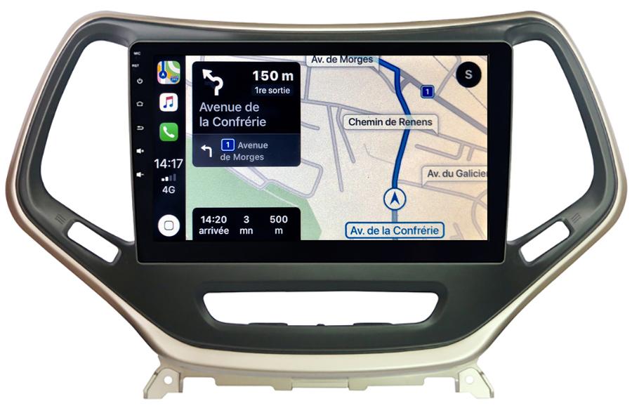 Autoradio GPS à écran tactile QLED Android 10.0 et Apple Carplay sans fil Jeep Cherokee de 2014 à 2018