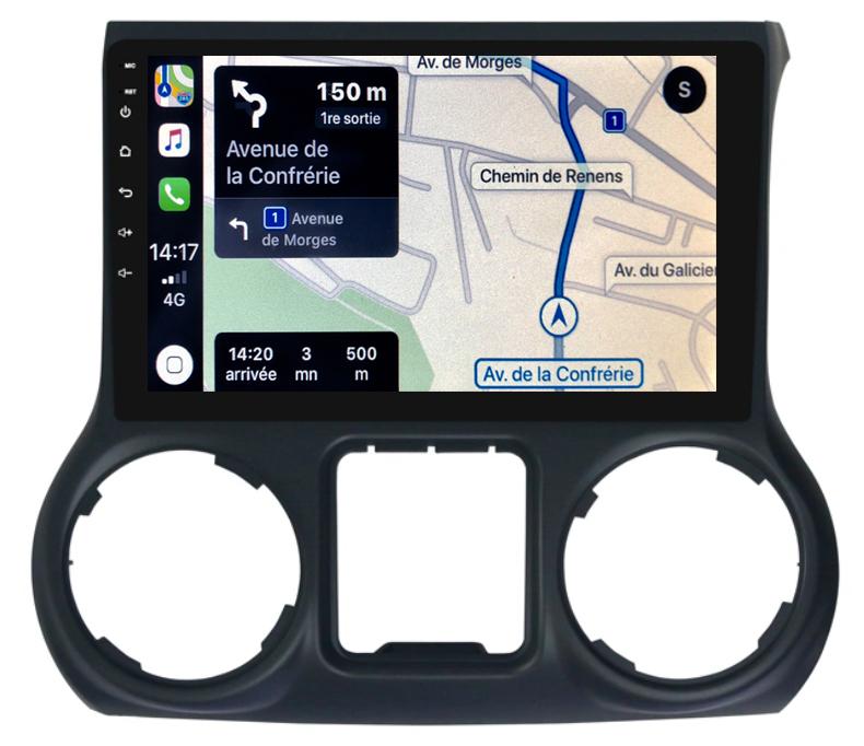 Autoradio tactile GPS Android 10.0 et Bluetooth Jeep Wrangler de 2011 à 2018