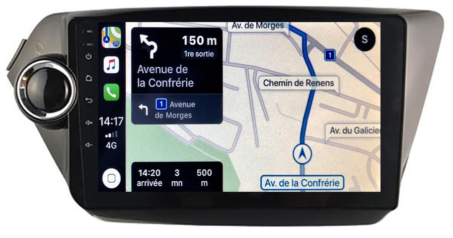 Autoradio GPS à écran tactile QLED Android 10.0 et Apple Carplay sans fil Kia Rio de 2012 à 2015
