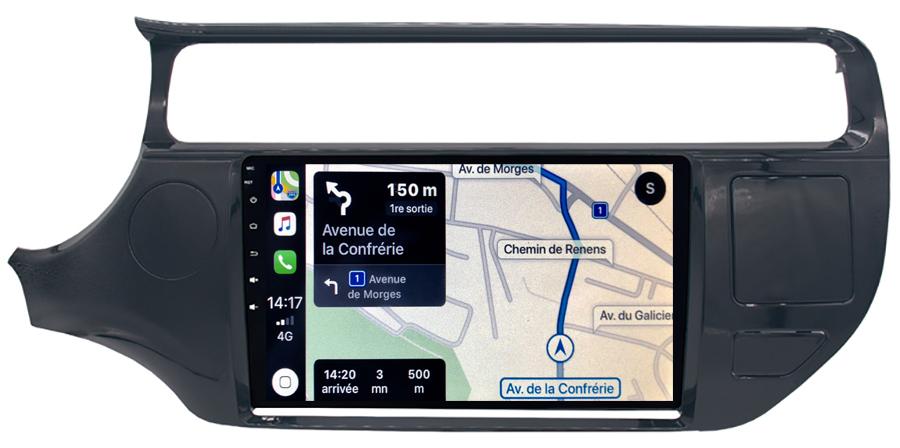 Autoradio GPS à écran tactile QLED Android 10.0 et Apple Carplay sans fil Kia Rio de 2015 à 2017