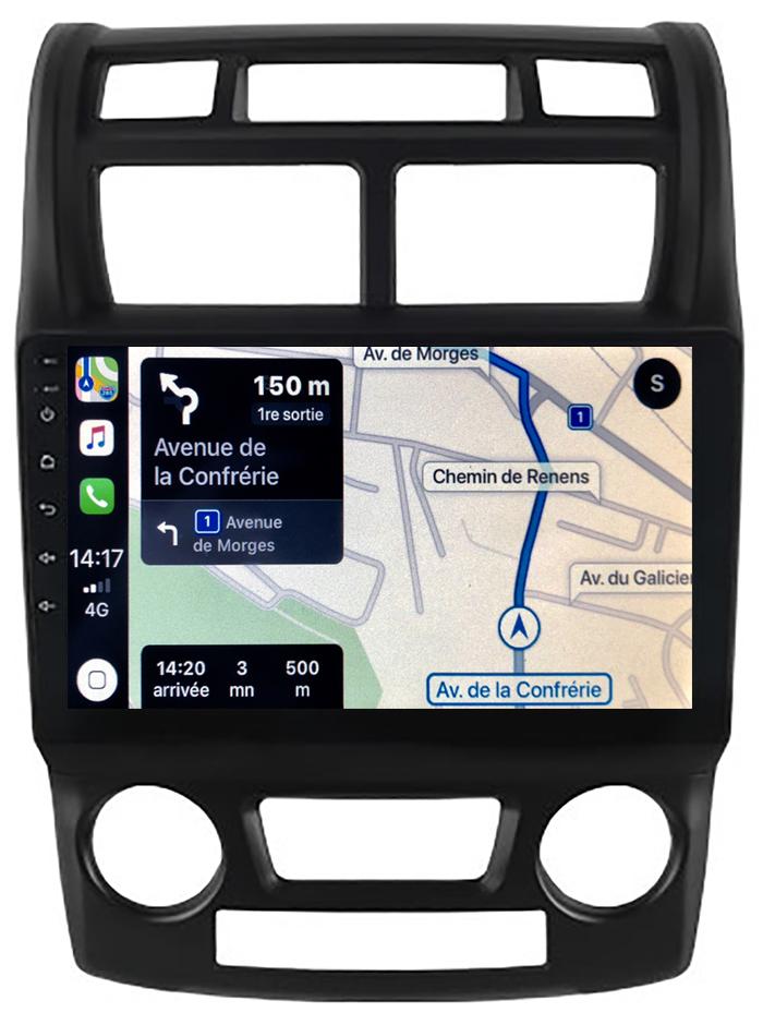 Autoradio GPS à écran tactile QLED Android 10.0 et Apple Carplay sans fil Kia Sportage de 2004 à 2010