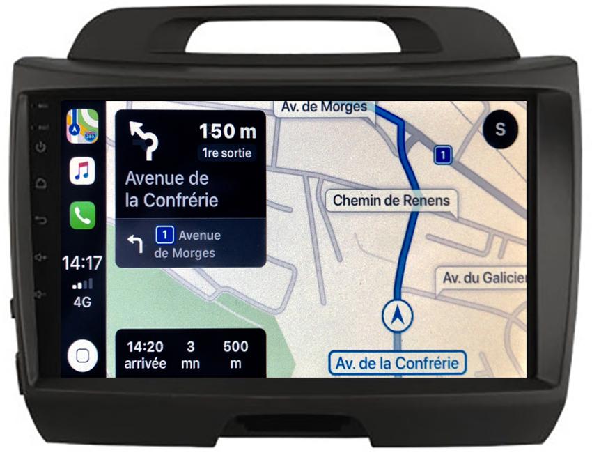Autoradio GPS à écran tactile QLED Android 10.0 et Apple Carplay sans fil Kia Sportage de 2010 à 2014