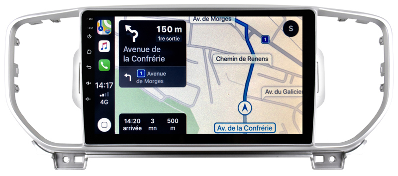 Autoradio tactile GPS Android 10.0 et Bluetooth Kia Sportage depuis 2016