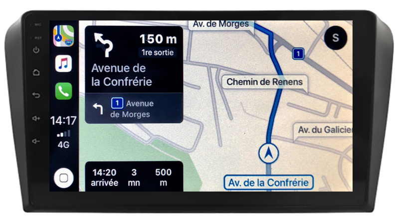 Autoradio GPS à écran tactile QLED Android 10.0 et Apple Carplay sans fil Mazda 3 de 2003 à 2007