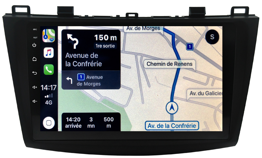 Autoradio GPS à écran tactile QLED Android 10.0 et Apple Carplay sans fil Mazda 3 de 2009 à 10/2013