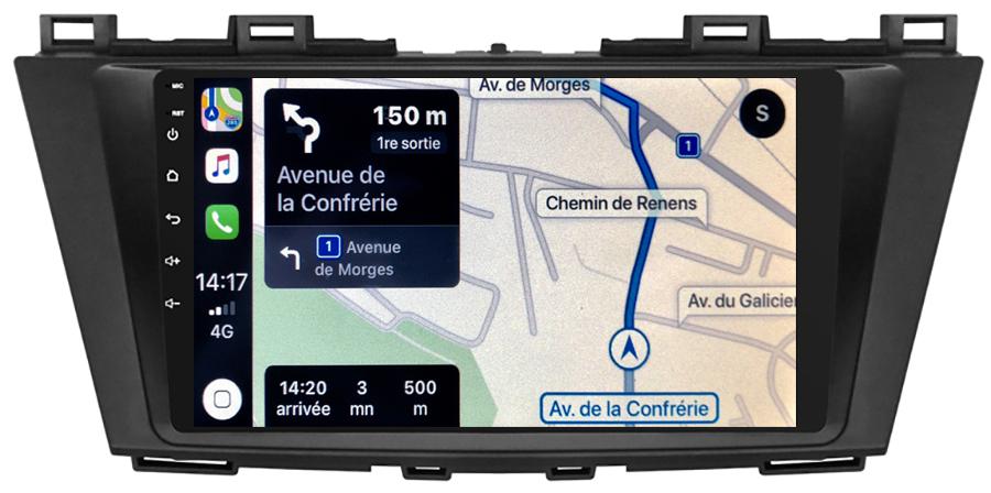 Autoradio GPS à écran tactile QLED Android 10.0 et Apple Carplay sans fil Mazda 5 de 2009 à 2012