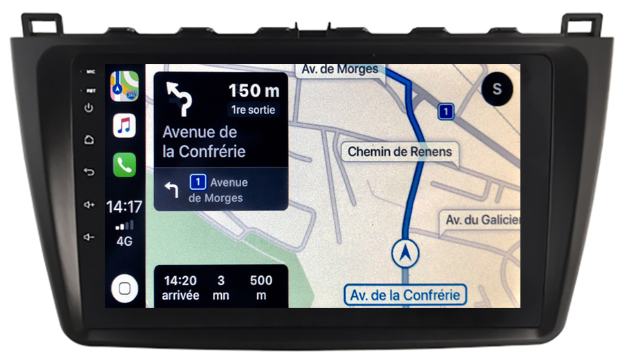 Autoradio GPS à écran tactile QLED Android 10.0 et Apple Carplay sans fil Mazda 6 de 2008 à 2012
