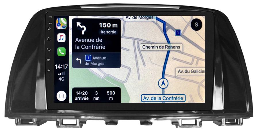 Autoradio GPS à écran tactile QLED Android 10.0 et Apple Carplay sans fil Mazda 6 de 2013 à 2017