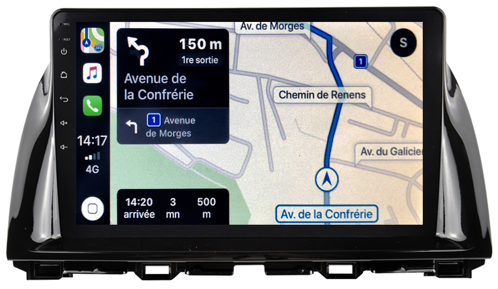 Autoradio tactile GPS Android 10.0 et Apple Carplay sans fil Mazda CX-5 de 2012 à 2017