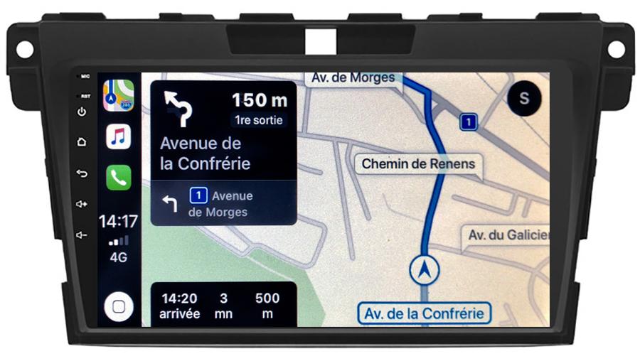 Autoradio tactile GPS Android 10.0 et Apple Carplay sans fil Mazda CX-7 de 2007 à 2012