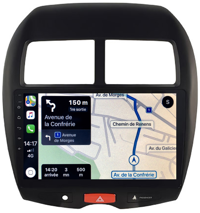 Autoradio GPS à écran tactile QLED Android 10.0 et Apple Carplay sans fil Peugeot 4008