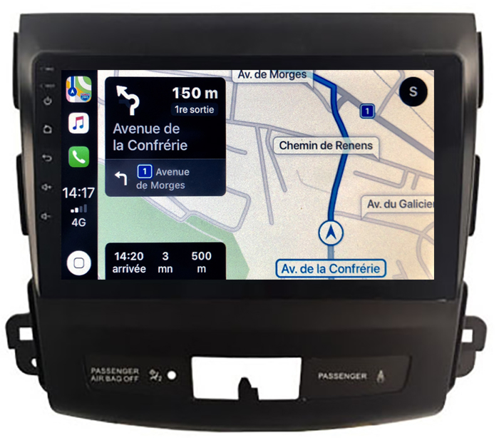 Autoradio GPS à écran tactile QLED Android 10.0 et Apple Carplay sans fil Peugeot 4007