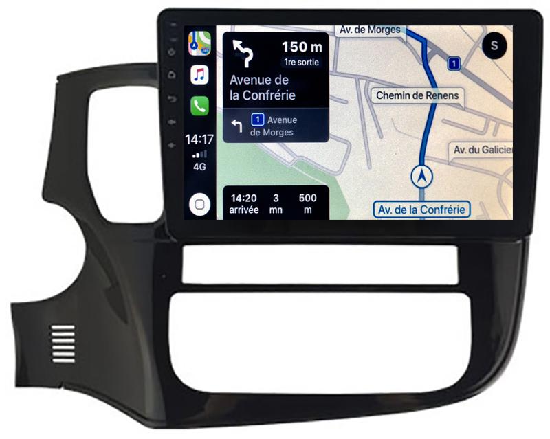 Autoradio GPS à écran tactile QLED Android 10.0 et Apple Carplay sans fil Mitsubishi Outlander de 2013 à 2020