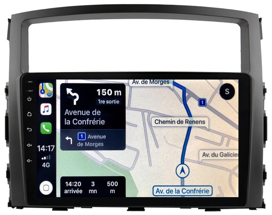 Autoradio tactile GPS Android 10.0 et Apple Carplay sans fil Mitsubishi Pajero de 2006 à 2015