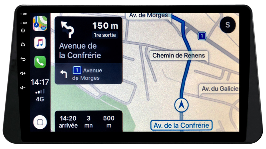 Autoradio GPS à écran tactile QLED Android 10.0 et Apple Carplay sans fil Nissan Micra depuis 2017