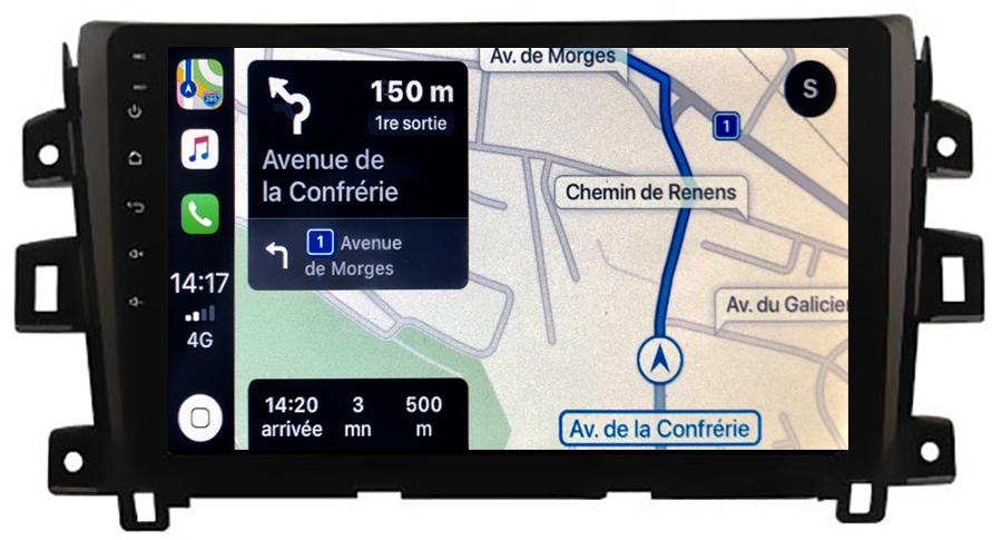 Autoradio tactile GPS Android 10.0 et Apple Carplay sans fil Nissan Navara et NP300 depuis 2015