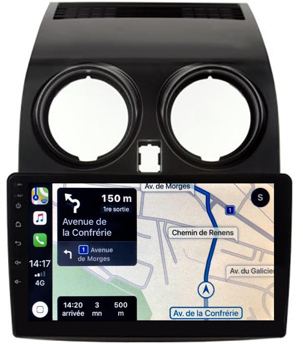 Autoradio GPS à écran tactile QLED Android 10.0 et Apple Carplay sans fil Nissan Qashqai de 2007 à 2013