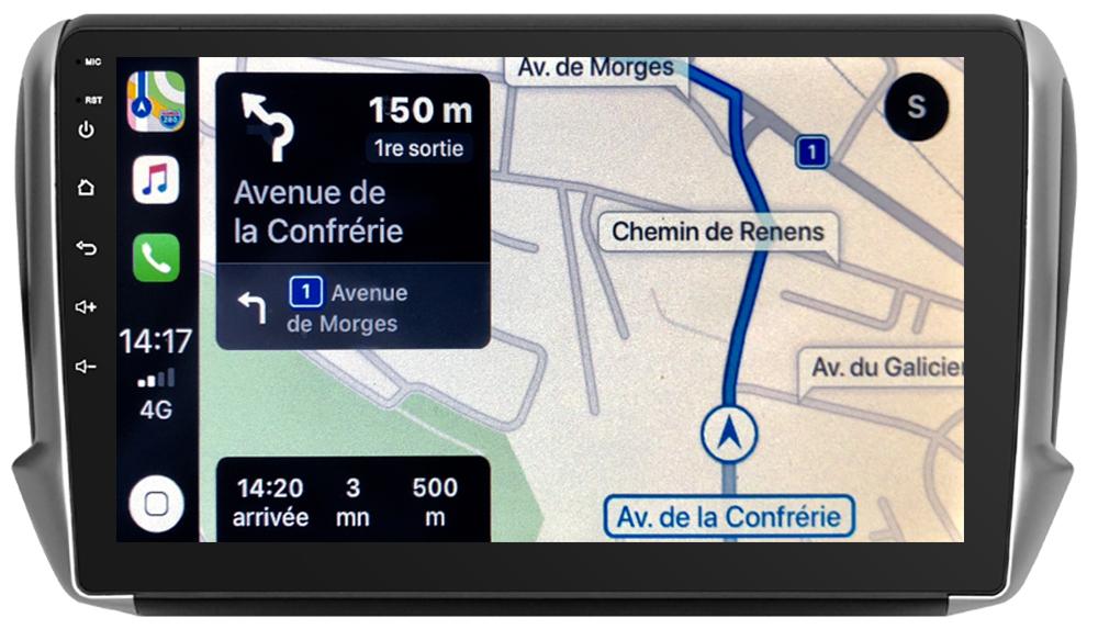 Autoradio tactile GPS Android 10.0 et Bluetooth Peugeot 208 et Peugeot 2008 de 2012 à 2019