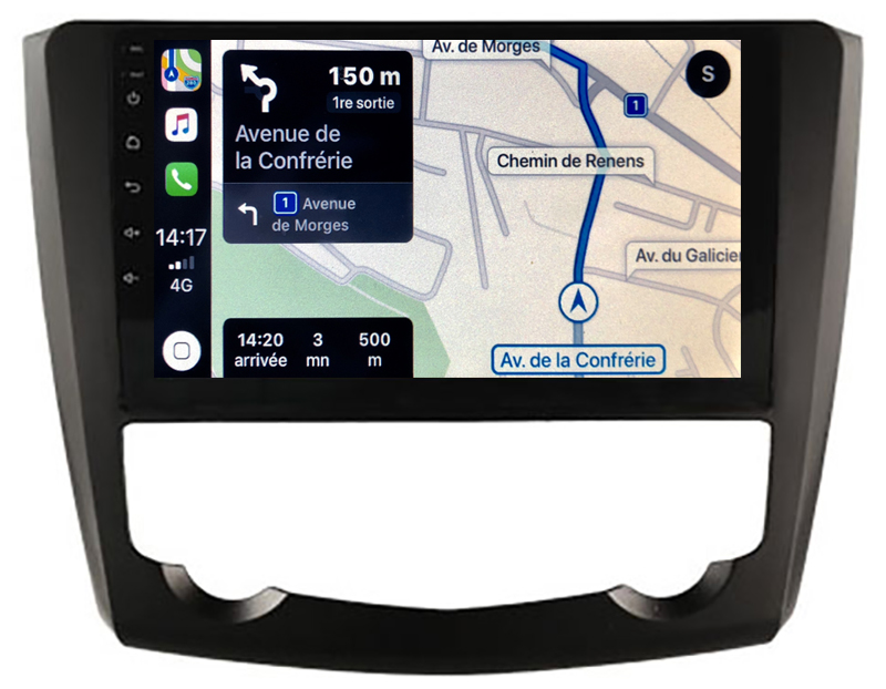 Autoradio GPS à écran tactile QLED Android 10.0 et Apple Carplay sans fil Renault Kadjar de 2013 à 2018