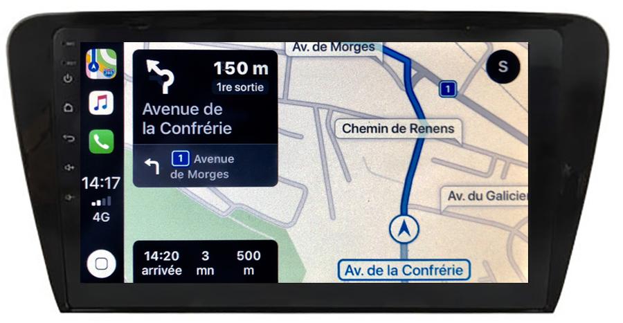 Autoradio tactile GPS Android 10.0 et Apple Carplay sans fil Skoda Octavia de 2013 à 2020