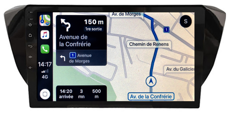Autoradio GPS à écran tactile QLED Android 10.0 et Apple Carplay sans fil Skoda Superb de 2015 à 2019
