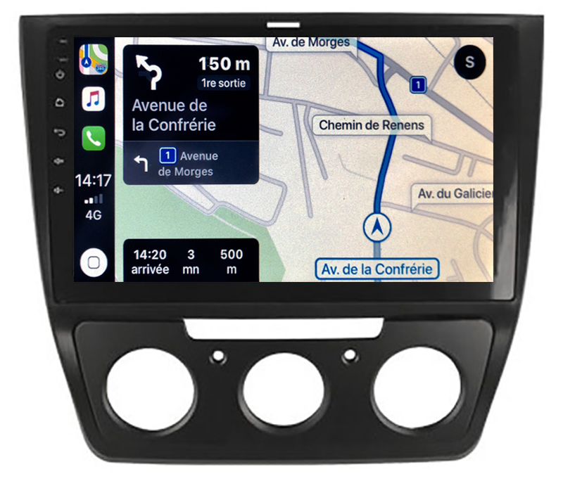 Autoradio GPS à écran tactile QLED Android 10.0 et Apple Carplay sans fil Skoda Yeti de 2009 à 2017